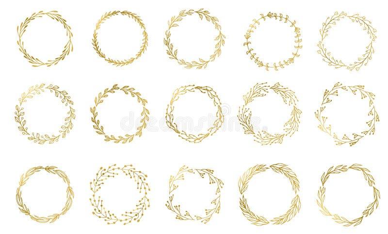 Σύνολο 15 Handdrawn χρωματισμένων μελάνι χρυσών floral στεφανιών και laurels Εκλεκτής ποιότητας χρυσά στοιχεία για το γάμο, τις δ διανυσματική απεικόνιση
