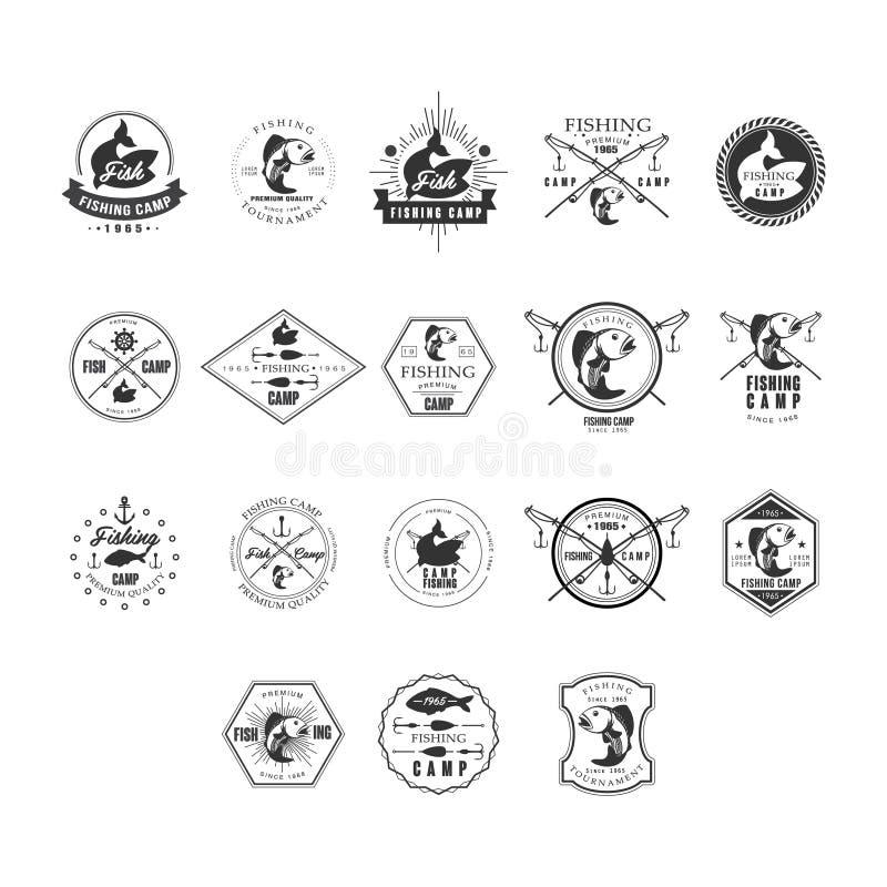 Σύνολο Insignias Logotypes σχεδίου αλιείας αναδρομικό Διανυσματικές απεικονίσεις στοιχείων διανυσματική απεικόνιση