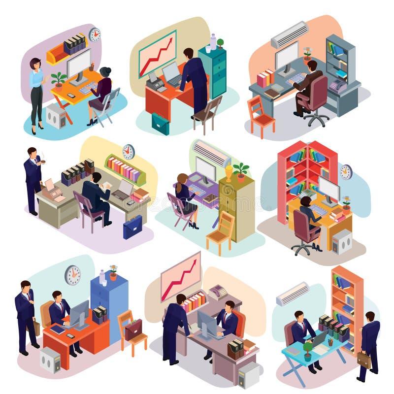 Σύνολο isometric ανθρώπων στα επιχειρησιακά κοστούμια στο γραφείο απεικόνιση αποθεμάτων