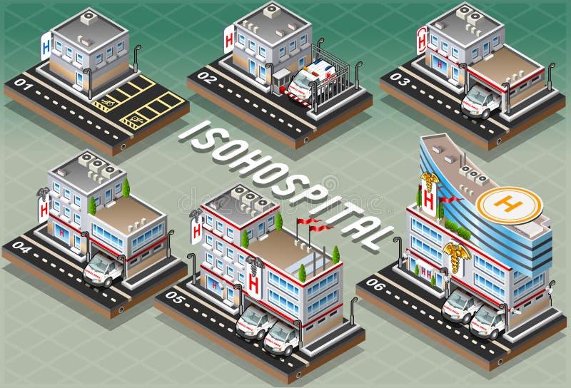 Σύνολο Isometric νοσοκομείων ελεύθερη απεικόνιση δικαιώματος