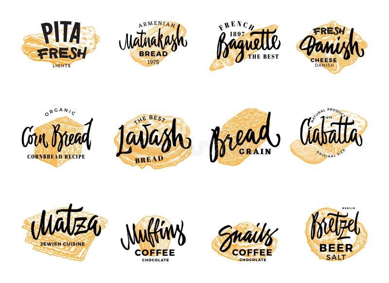 Σύνολο Logotypes ζύμης και ψωμιού απεικόνιση αποθεμάτων