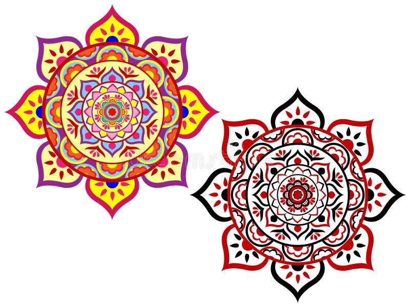 Σύνολο Lotus Mandala στοκ εικόνα