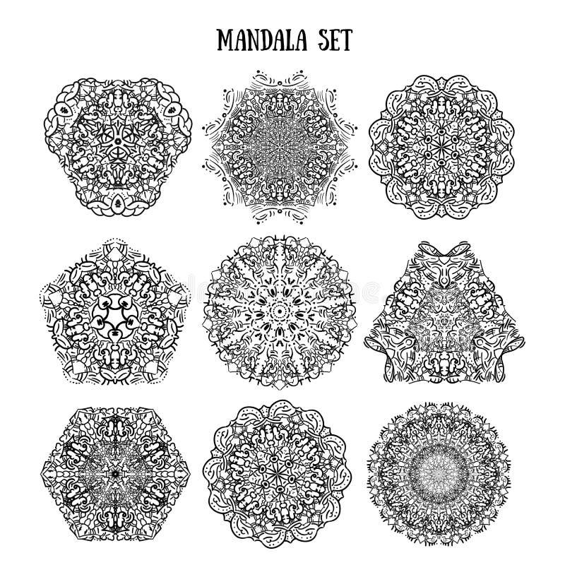 Σύνολο Mandala εθνικών διακοσμητικών σχεδίων Κυκλικές διακοσμήσεις manala δαντελλών Παραδοσιακά ινδικά, ισλαμικός, ασιατικά, αραβ απεικόνιση αποθεμάτων
