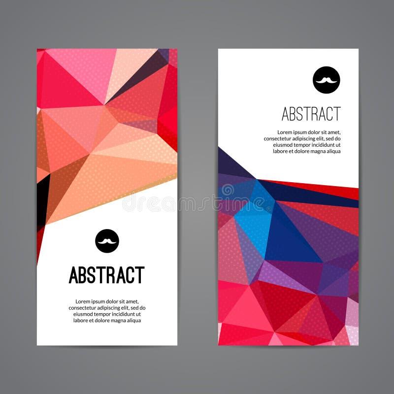 Σύνολο polygonal τριγωνικού ζωηρόχρωμου βιβλιάριου αφισών εμβλημάτων υποβάθρου με τους στροβίλους για το σύγχρονο σχέδιο, νεολαία διανυσματική απεικόνιση