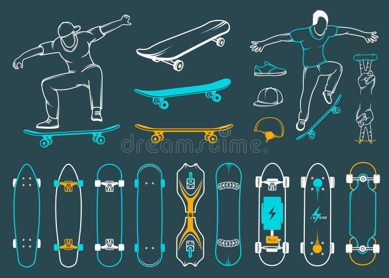 Σύνολο Skateboards, εξοπλισμοί του ύφους οδών διανυσματική απεικόνιση