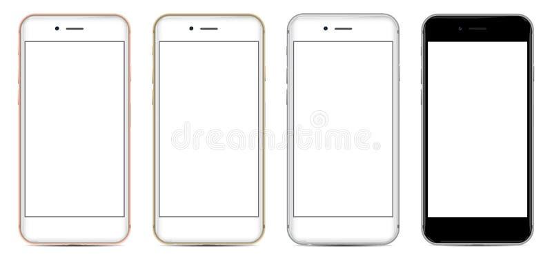 Σύνολο Smartphones με την κενή οθόνη σε τέσσερα χρώματα διανυσματική απεικόνιση
