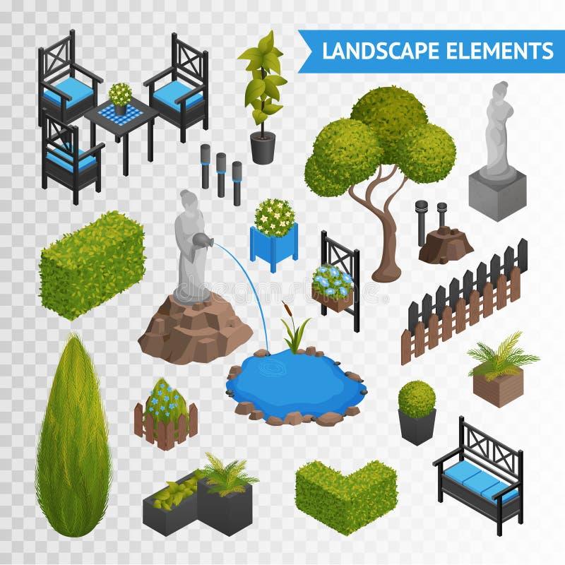 Σύνολο Transperent στοιχείων πάρκων κήπων διανυσματική απεικόνιση