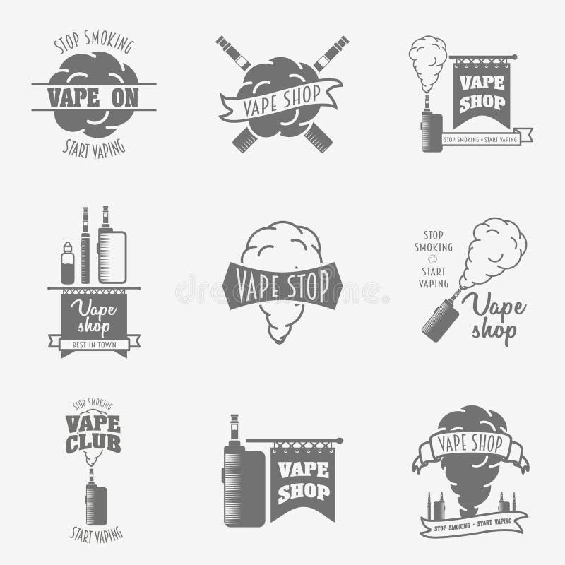Σύνολο vape, εμβλημάτων ε-τσιγάρων, ετικετών, τυπωμένων υλών και λογότυπων στο άσπρο υπόβαθρο ελεύθερη απεικόνιση δικαιώματος