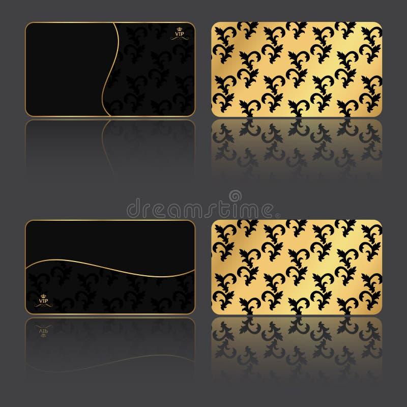 Σύνολο VIP-κάρτας τέσσερα στο εκλεκτής ποιότητας ύφος, τις κάρτες σχεδίων και τη μισή χρυσή πλευρά απεικόνιση αποθεμάτων