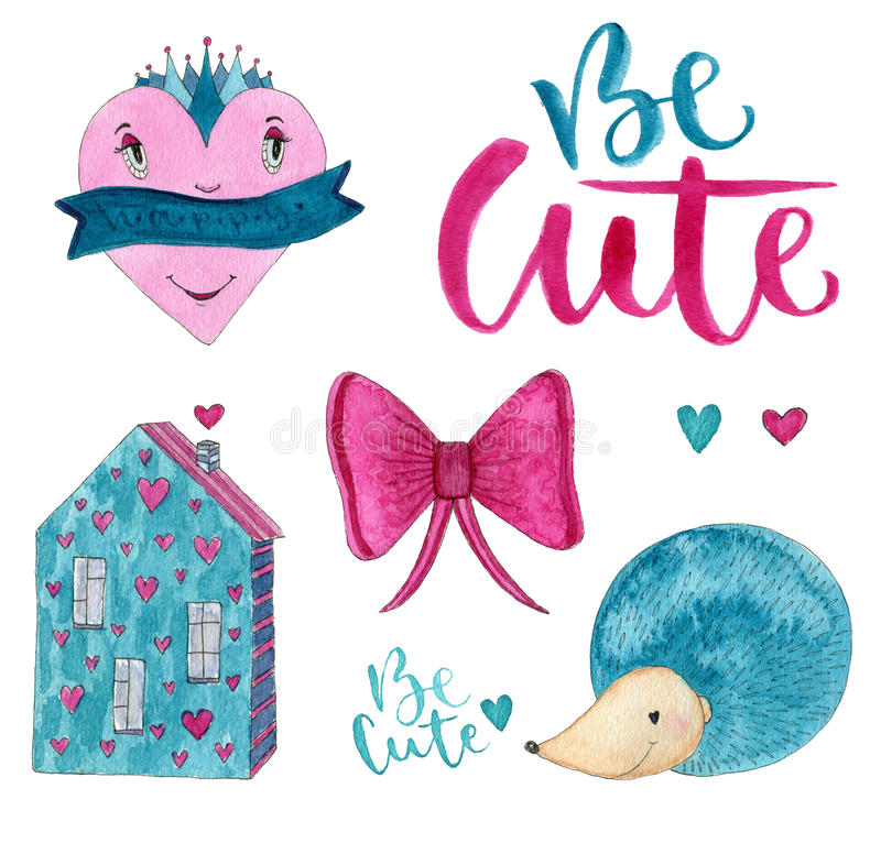 Σύνολο watercolor ημέρας βαλεντίνων Απομονωμένα girly στοιχεία σχεδίου για τις προσκλήσεις, το γάμο, τη διακόσμηση γενεθλίων ή τη ελεύθερη απεικόνιση δικαιώματος