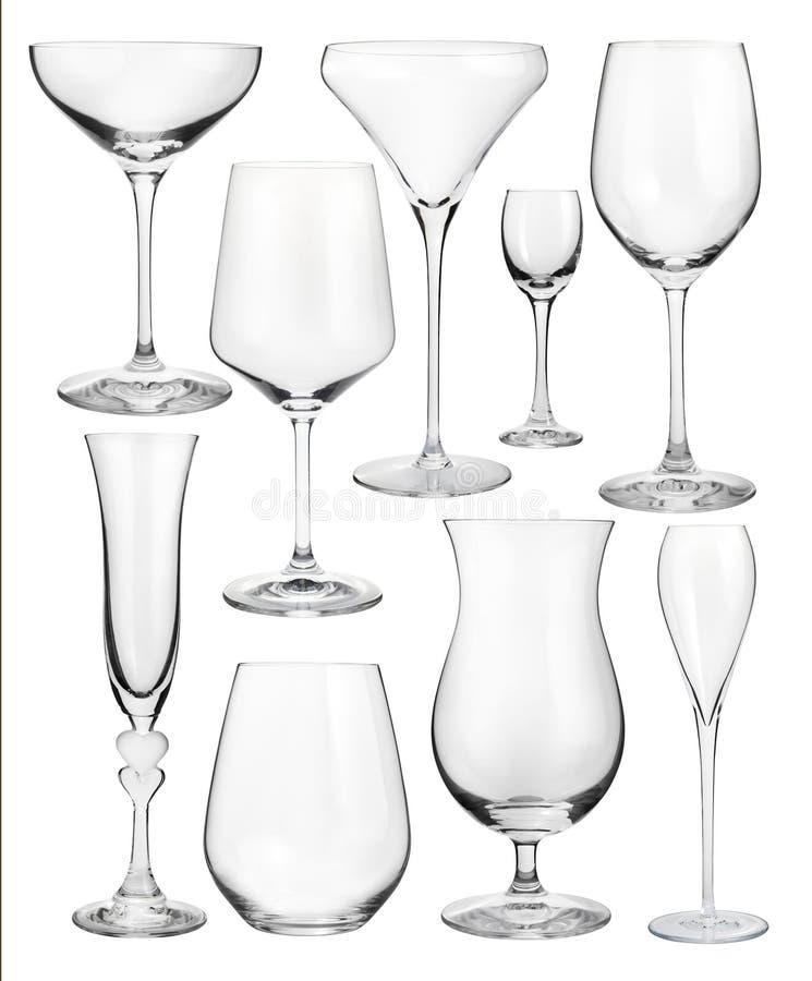 Σύνολο wineglasses που απομονώνεται στο λευκό στοκ εικόνα