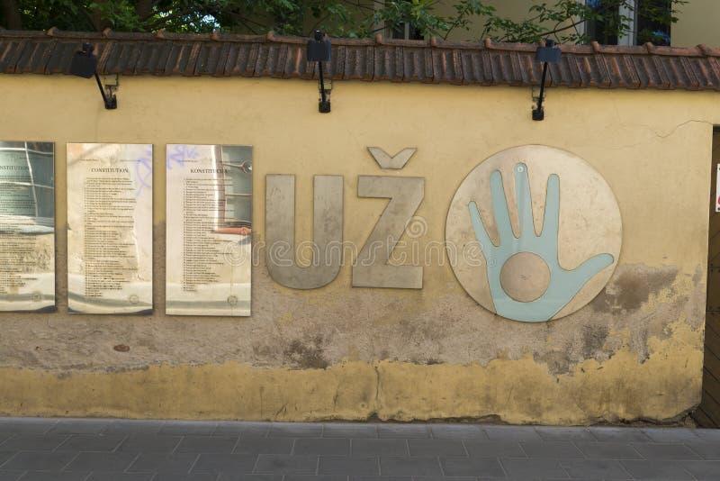 Σύνταγμα Uzupis στοκ εικόνες