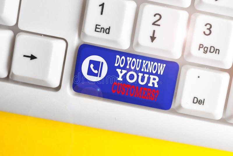 Σύνταξη σημείωσης που δείχνει αν γνωρίζετε ότι οι πελάτες σας ρωτούν Παρουσίαση επαγγελματικής φωτογραφίας που ζητά να αναγνωρίσε στοκ εικόνες