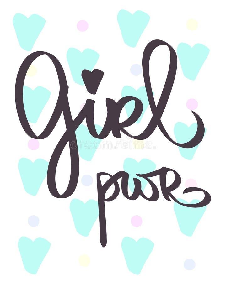 Σύντμηση GRL PWR Handdrawn δύναμη κοριτσιών εγγραφής Σύνθημα γυναικών Κείμενο φεμινισμού Φράση για τα κορίτσια Μπλε καρδιές ευχετ διανυσματική απεικόνιση