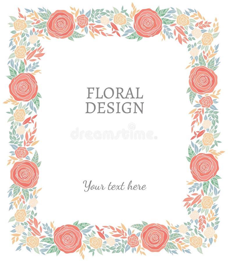 Σύντομα χρονογραφήματα, πλαίσιο ή σύνορα φύσης διανυσματικά floral ελεύθερη απεικόνιση δικαιώματος