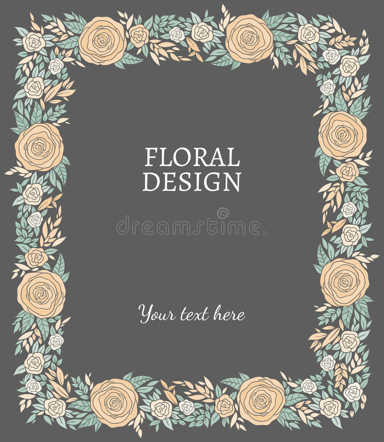 Σύντομα χρονογραφήματα, πλαίσιο ή σύνορα φύσης διανυσματικά floral διανυσματική απεικόνιση