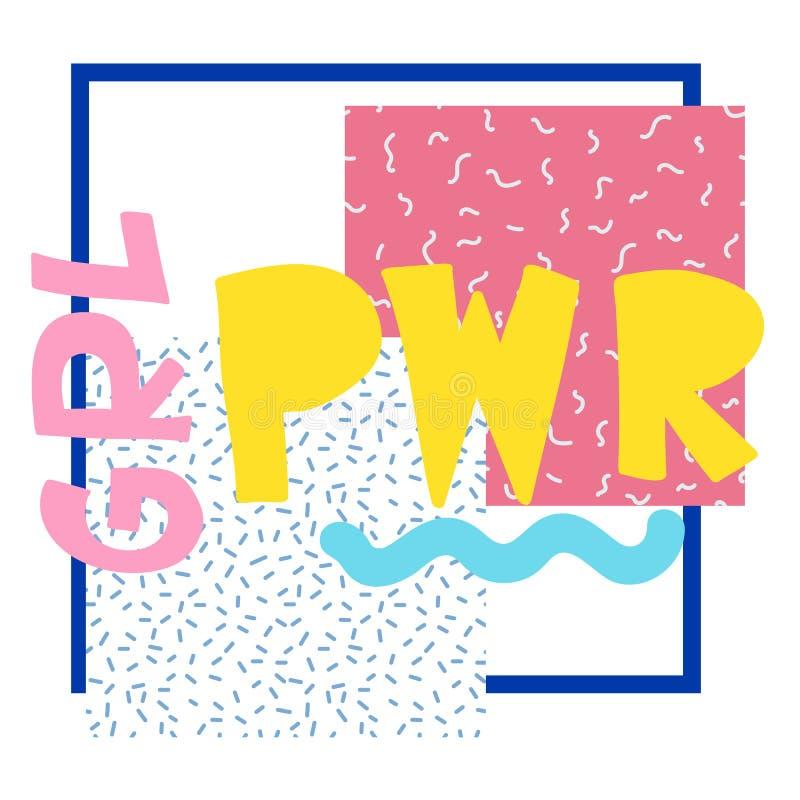 Σύντομο απόσπασμα GRL PWR Χαριτωμένη απεικόνιση δύναμης κοριτσιών διανυσματική απεικόνιση