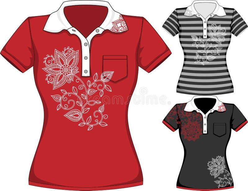 Σύντομο σχέδιο μπλουζών μανικιών των διανυσματικών γυναικών διανυσματική απεικόνιση