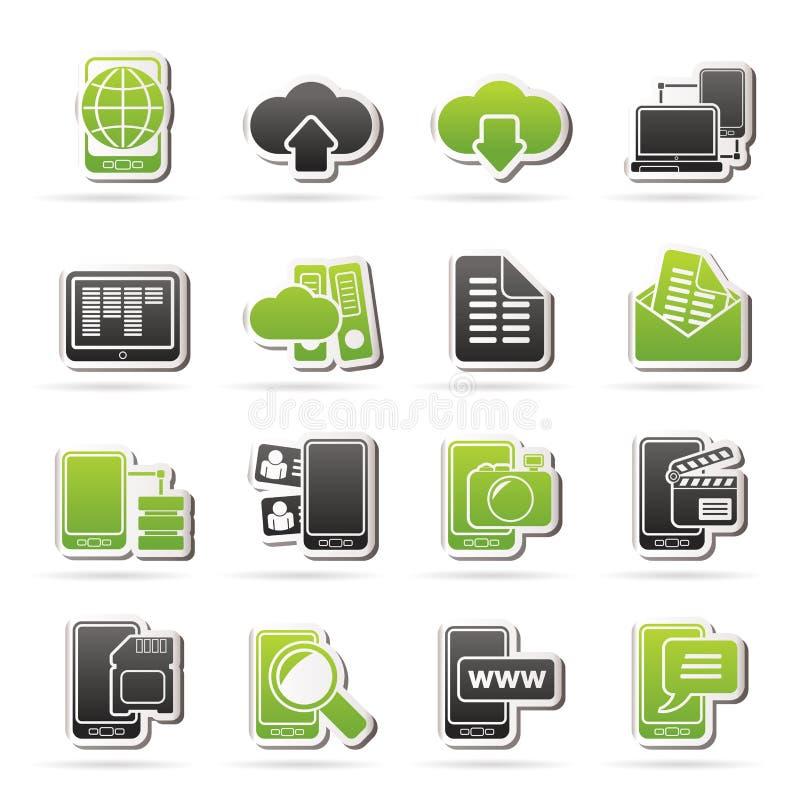 Σύνδεση, επικοινωνία και κινητά τηλεφωνικά εικονίδια ελεύθερη απεικόνιση δικαιώματος