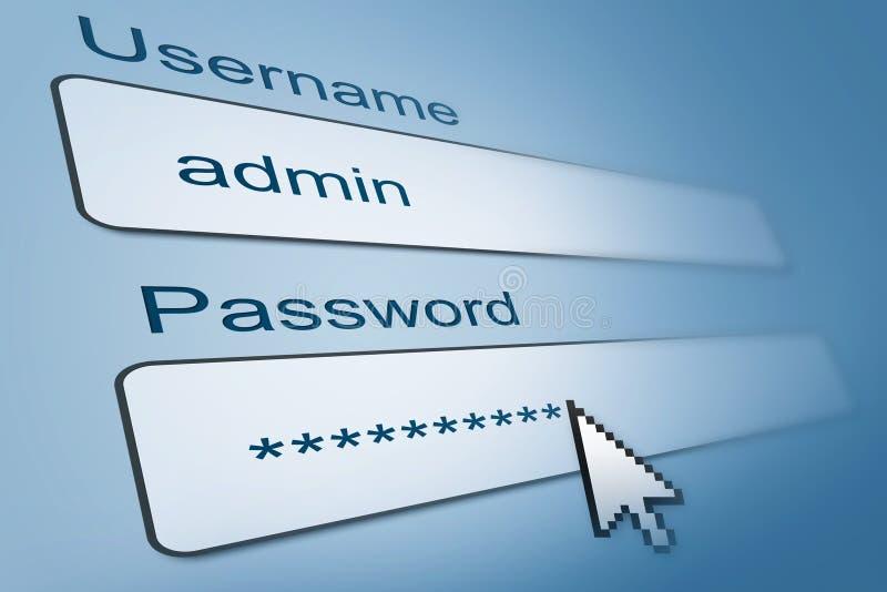 Σύνδεση με το όνομα χρήστη και τον κωδικό πρόσβασης ελεύθερη απεικόνιση δικαιώματος