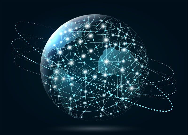 Σύνδεση παγκόσμιων δικτύων ευρύς κόσμος Ιστού διανυσματική απεικόνιση