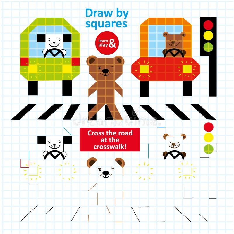 Σύρετε από το ζωικό παιχνίδι παιδιών τέχνης κυκλοφορίας οδών τετραγώνων απεικόνιση αποθεμάτων