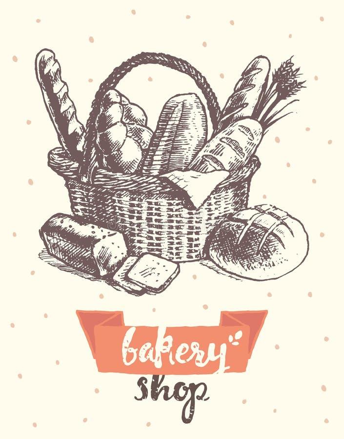 Σύρετε το εκλεκτής ποιότητας διανυσματικό κατάστημα αρτοποιείων ψωμιού καλαθιών φρέσκο απεικόνιση αποθεμάτων