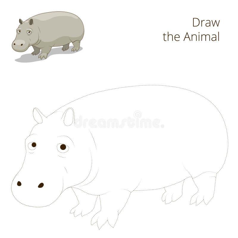 Σύρετε το ζωικό εκπαιδευτικό παιχνίδι για το hippopotamus ελεύθερη απεικόνιση δικαιώματος