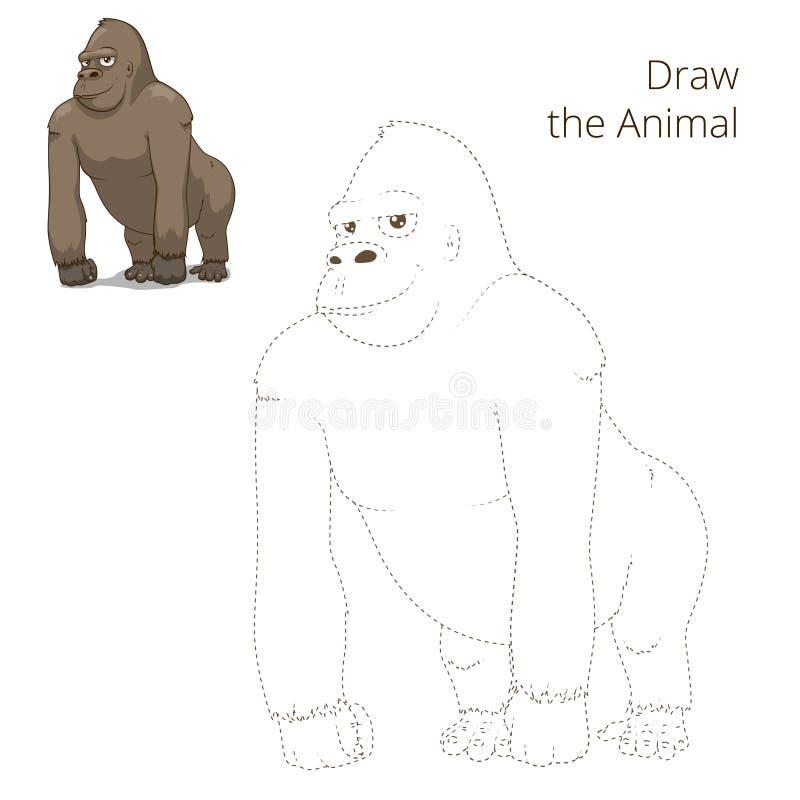 Σύρετε το ζωικό διάνυσμα παιχνιδιών γορίλλων εκπαιδευτικό διανυσματική απεικόνιση