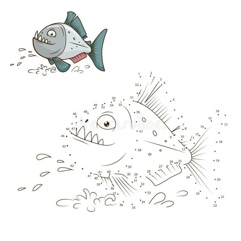 Σύρετε το ζωικό διάνυσμα παιχνιδιών piranha εκπαιδευτικό απεικόνιση αποθεμάτων