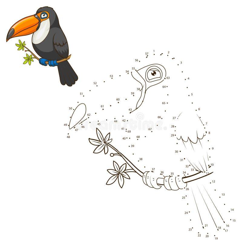 Σύρετε το ζωικό toucan εκπαιδευτικό διάνυσμα παιχνιδιών διανυσματική απεικόνιση