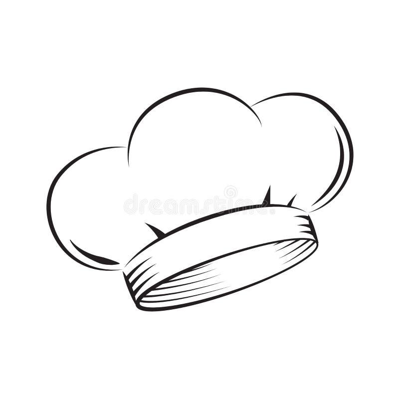 Σύρετε το καπέλο αρχιμαγείρων, διάνυσμα απεικόνιση αποθεμάτων