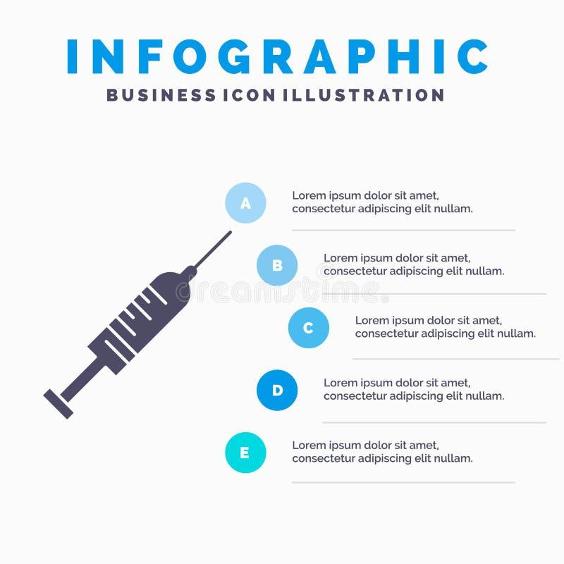 σύριγγα, έγχυση, εμβόλιο, βελόνα, πυροβοληθε'ν πρότυπο Infographics για τον ιστοχώρο και παρουσίαση Γκρίζο εικονίδιο GLyph με το  διανυσματική απεικόνιση