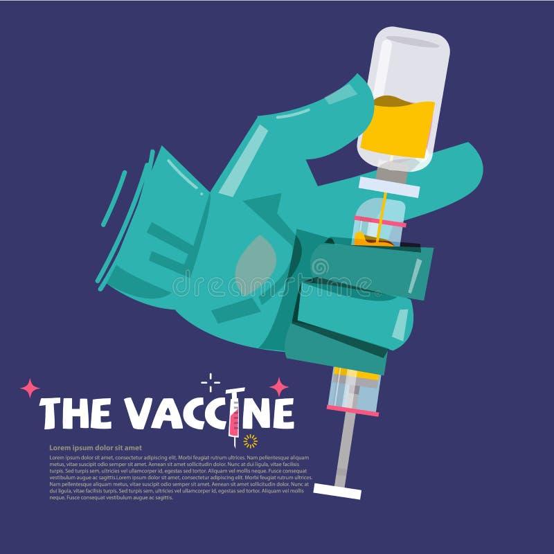 Σύριγγα εκμετάλλευσης χεριών γιατρών με το φιαλίδιο του φαρμάκου εμβόλιο con απεικόνιση αποθεμάτων