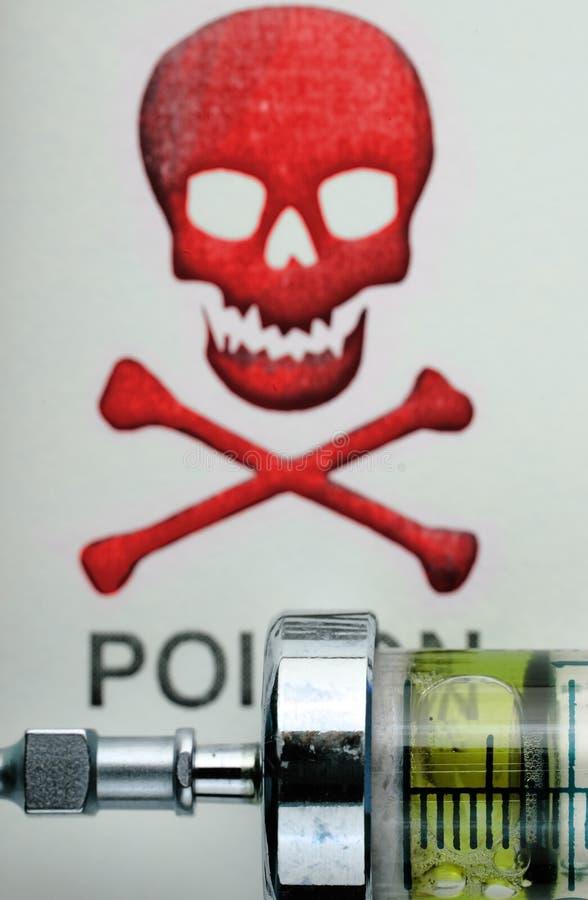 Σύριγγα φαρμάκων στο υπόβαθρο scull-και στοκ φωτογραφία με δικαίωμα ελεύθερης χρήσης