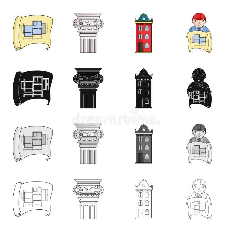 Σύροντας, αρχαία στήλη, multi-storey κτήριο, αρχιτέκτονας με ένα σκίτσο Καθορισμένα εικονίδια συλλογής αρχιτεκτονικής στα κινούμε απεικόνιση αποθεμάτων
