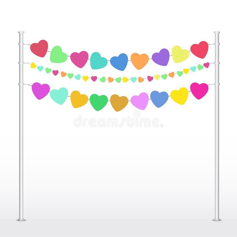 Σύσταση καρδιών πολλές ζωηρόχρωμες καρδιές σε ένα σκοινί στοκ φωτογραφία