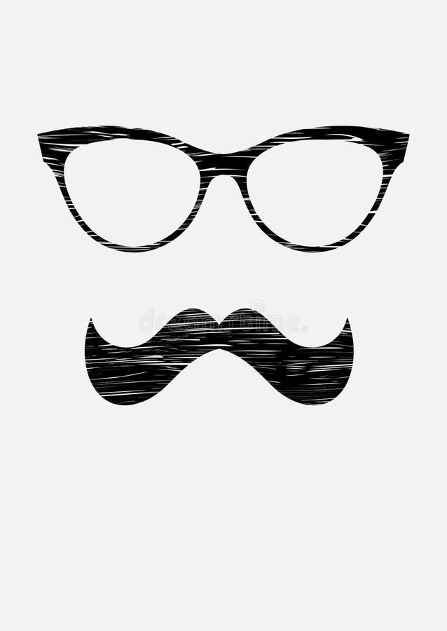 Σύσταση σκιαγραφιών Mustache και εικονιδίων γυαλιών grunge Διανυσματική μαύρη αυτοκόλλητη ετικέττα απεικόνιση αποθεμάτων