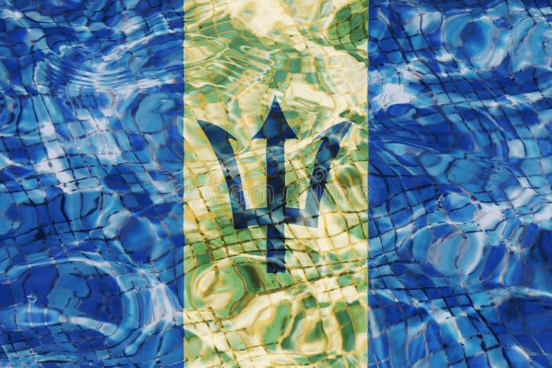 Σύσταση της σημαίας των Μπαρμπάντος στοκ φωτογραφίες