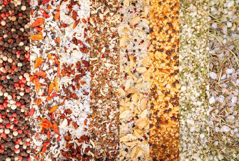 Σύσταση του ζωηρόχρωμου μίγματος καρυκευμάτων και χορταριών Ομάδα χρωματισμένου καρυκεύματος Κολάζ των διαφορετικών χορταριών και στοκ φωτογραφίες