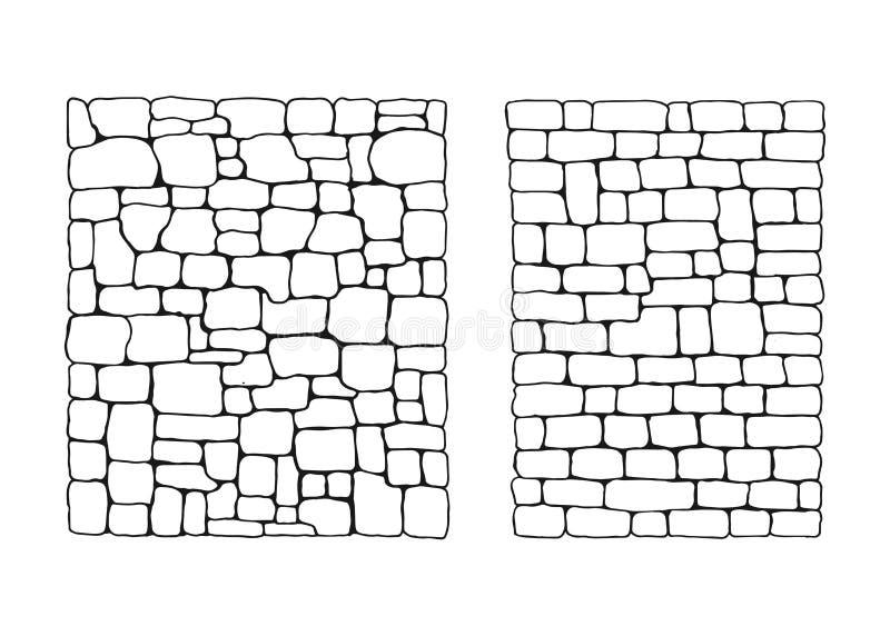 Σύσταση των πετρών Πέτρινος τοίχος από τους φραγμούς καθορισμένους διανυσματικούς ελεύθερη απεικόνιση δικαιώματος