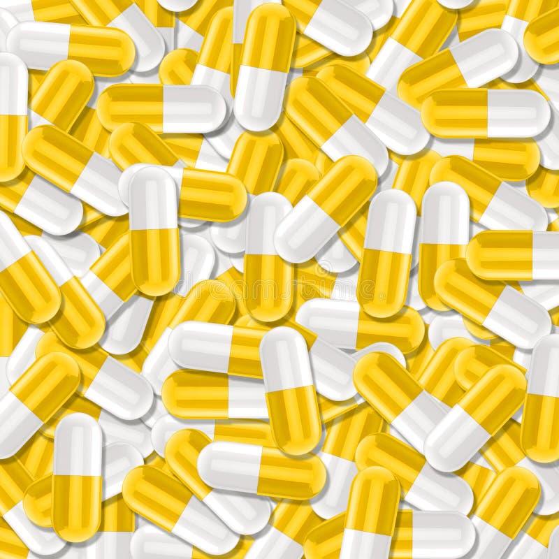 Σύσταση υγειονομικής περίθαλψης με τη δέσμη των κίτρινων και άσπρων ιατρικών χαπιών στοκ φωτογραφίες