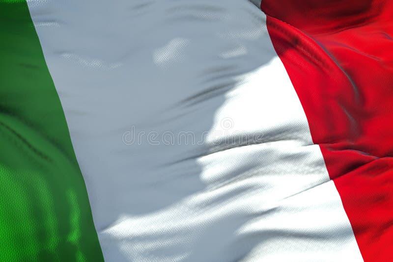 Σύσταση υφάσματος κυματισμού της σημαίας της Ιταλίας, ιταλικό εθνικό ελαφρύ κτύπημα στοκ φωτογραφία με δικαίωμα ελεύθερης χρήσης