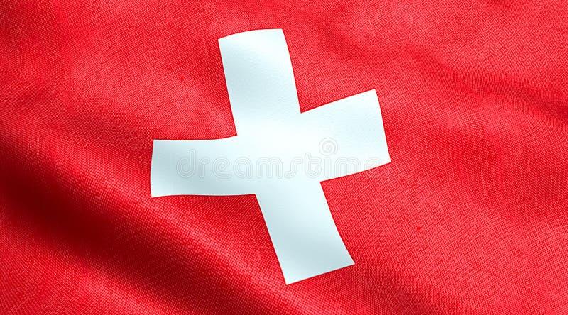 Σύσταση υφάσματος κυματισμού της σημαίας της Ελβετίας, του κόκκινου υποβάθρου και του άσπρου σταυρού στοκ φωτογραφία με δικαίωμα ελεύθερης χρήσης