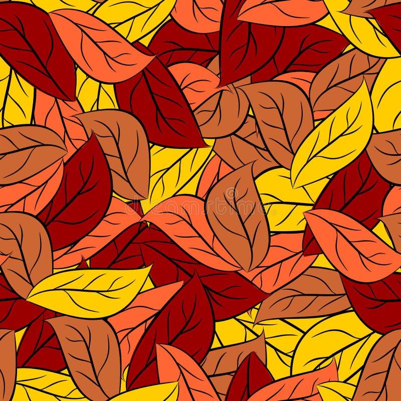 Σύσταση φθινοπώρου των φύλλων των δέντρων Διανυσματικό άνευ ραφής foli σχεδίων ελεύθερη απεικόνιση δικαιώματος