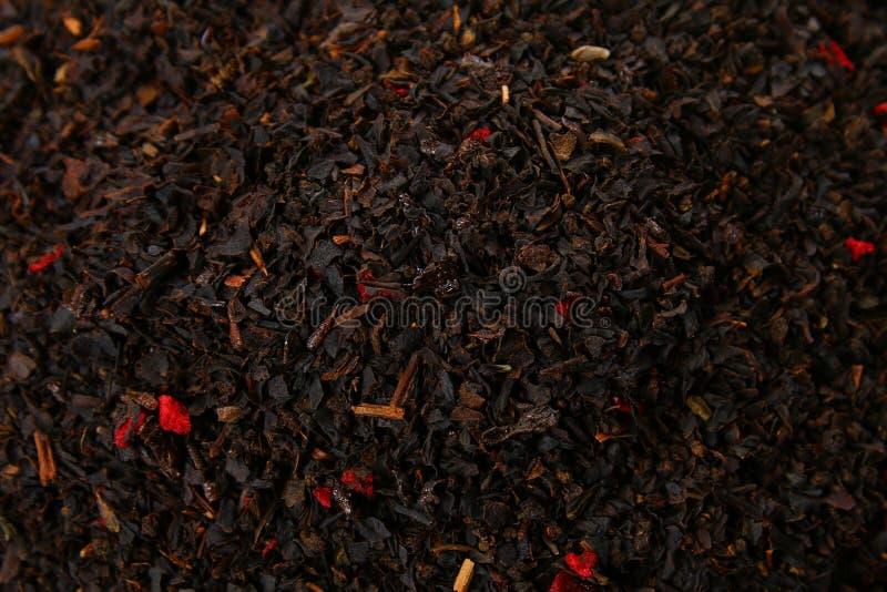 Σύσταση χορταριών τσαγιού μαύρο τσάι Οργανικά ξηρά μαύρα φύλλα τσαγιού στοκ φωτογραφίες