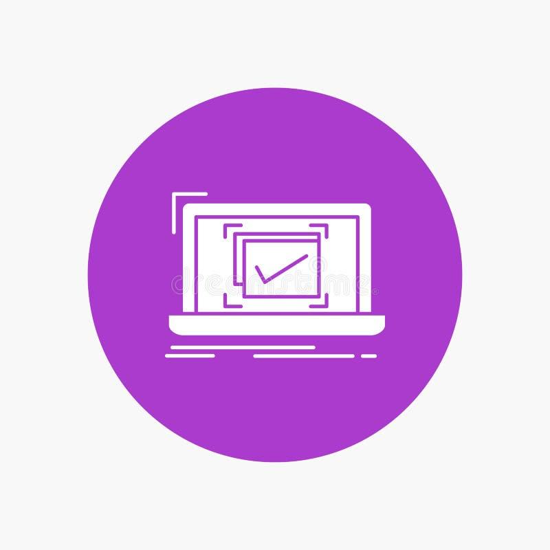 σύστημα, έλεγχος, πίνακας ελέγχου, καλό, ΕΝΤΑΞΕΙ άσπρο εικονίδιο Glyph στον κύκλο Διανυσματική απεικόνιση κουμπιών διανυσματική απεικόνιση