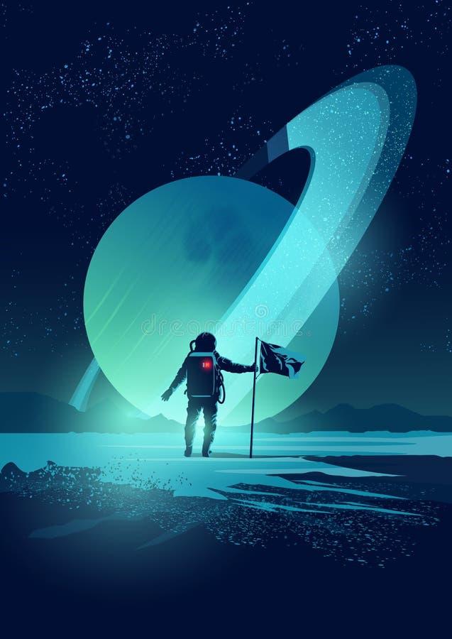 Σύστημα αστροναυτών και πλανητών διανυσματική απεικόνιση