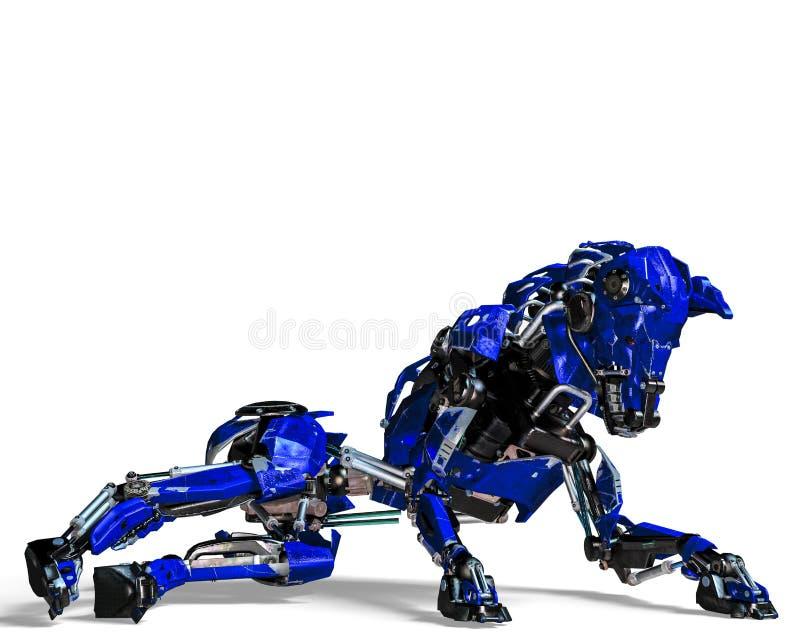 Σύστημα ασφαλείας ρομπότ σκυλιών φρουράς μπλε απεικόνιση αποθεμάτων
