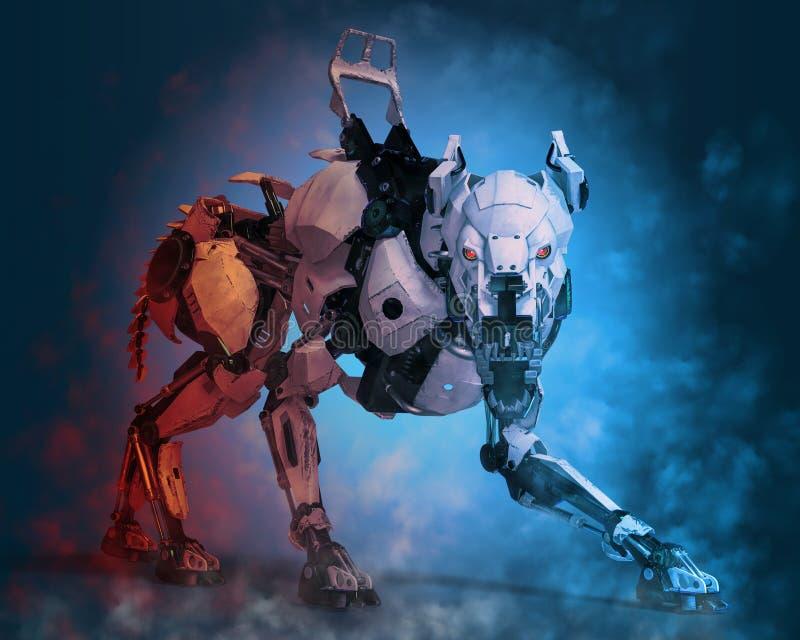 Σύστημα ασφαλείας ρομπότ σκυλιών φρουράς διανυσματική απεικόνιση